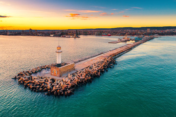 Aerial view of lighthouse at sunset in Varna, Bulgaria