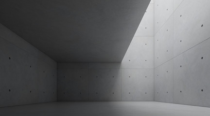 Abstract of architecture space with rhythm of concrete block and light and shadow of the sun,3D render
