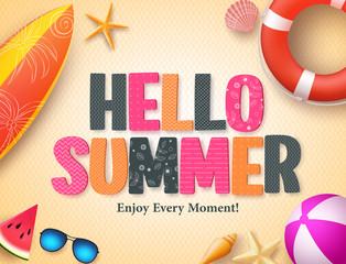 Hello summer vector background design with colorful 3D pattern text and beach elements in yellow textured background for summer season. Vector illustration.
