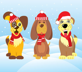 Dog set Santa cap scarf
