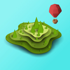 3d vector paper cut green island, hill or mountain with balloon. Cartoon art illustration in minimalistic craft carving style. Modern layout colorful concept in isometric view for games or mars.