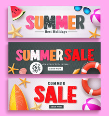 Summer sale and summer greeting banner design set with 3D colorful text and beach elements in white and black pattern background for summer season template. Vector illustration.