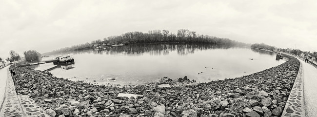 Waterfront in Szentendre, Hungary, colorless