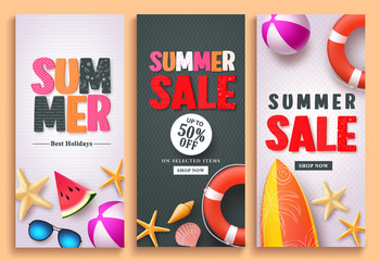 Summer sale and summer greeting vector poster design set with colorful 3D text and beach holiday elements in white and black pattern background for summer season template design.