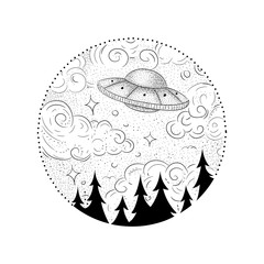 Ufo and black hole tattoo and t-shirt design. Symbol of science, astronomy, gravitational waves, curvature of space and time. Wormhole tattoo. Surreal art. UFO sci-fi concept