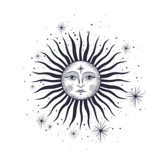 the face of the sun and the month, the stars, the Masonic tattoo, the design of T-shirts, alchemy, Akultism, medieval religion, retro, spirituality and isoteric tattoo. space and stars. vector