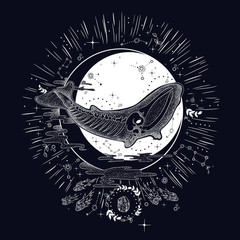 vintage retro vintage style engraving. the skeleton of a dead whale. phase of the moon. sketch for printing on fabric and clothing. trend vector