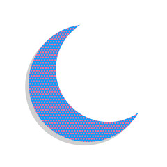Moon sign illustration. Vector. Neon blue icon with cyclamen pol