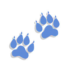Animal Tracks sign. Vector. Neon blue icon with cyclamen polka d