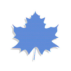 Maple leaf sign. Vector. Neon blue icon with cyclamen polka dots