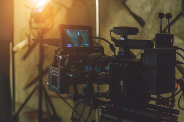 on-set movie camera