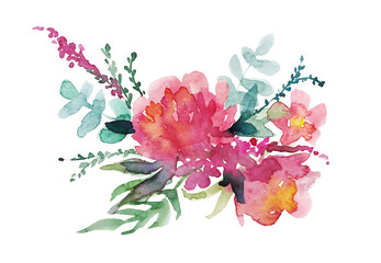 Floral design on a white background. Watercolor illustration