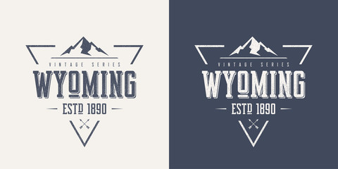 Wyoming state textured vintage vector t-shirt and apparel design