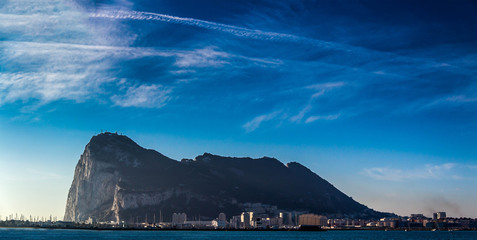 The view of the Rock of Gibraltar opens from the Spanish coast