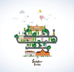 Sombor - Serbia city flat design