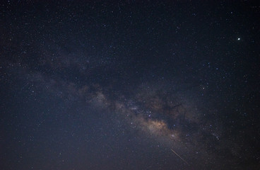 Close-up of Milky way galaxy with stars and space dust in the universe, Long exposure photograph, with grain.