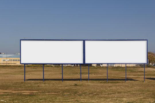 Two blank billboard mock up