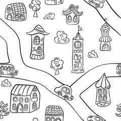 Fairytale town. Houses, towers, castles and road. Seamless pattern in doodle and cartoon style. Vector. EPS 8