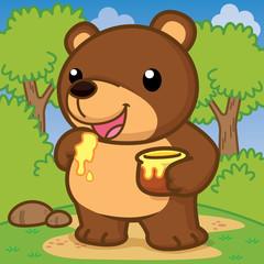 Bear eat honey, Cute vector, Cute Cartoon