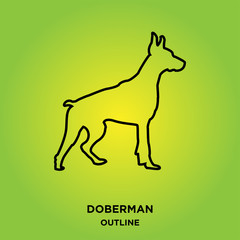 doberman outline on green background,from profile