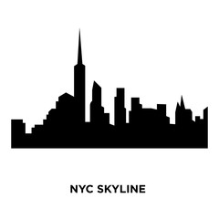 nyc skyline silhouette on white background, vector illustration