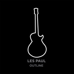 white image les paul outline lorem on black background, vector illustration