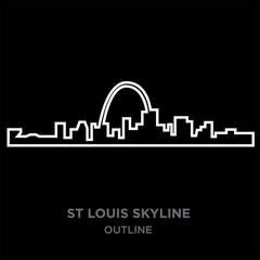 white border st louis skyline outline on black background, vector illustration