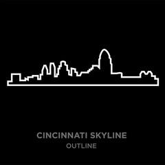 white border cincinnati skyline outline on black background, vector illustration