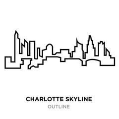charlotte skyline outline lorem outline on white background, vector illustration