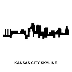 kansas city skyline silhouette on white background, vector illustration