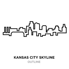 kansas city skyline outline on white background, vector illustration