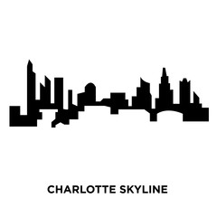 charlotte skyline silhouette on white background, vector illustration