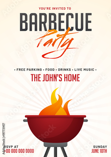 barbecue poster flyer template or invitation design stock image