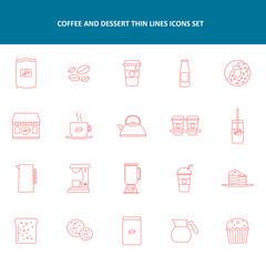 Coffee And Dessert Thin Lines Icons Sets