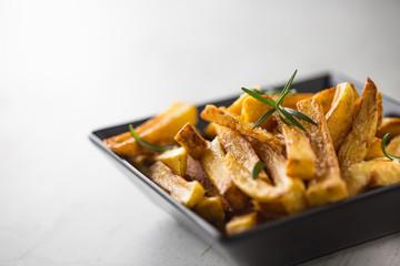Potato Fries. Homemade potato fries with salt and rosemary