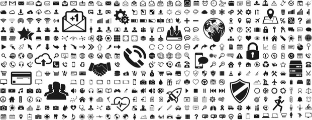 Black web business technology icons set