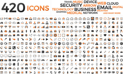 Wall Mural - Black and orange web business technology icons set