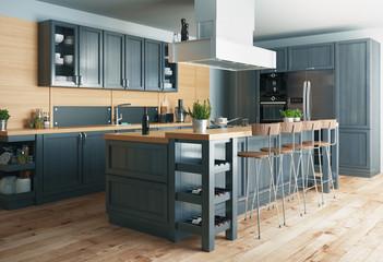 Cucina moderna, design minimal in legno con parquet,con banco e sgabelli, render 3d