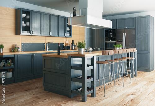 Cucina moderna, design minimal in legno con parquet,con banco e ...