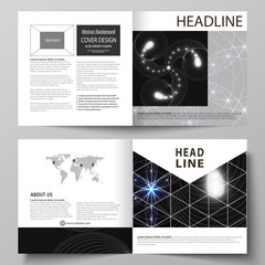 Business templates for square design bi fold brochure, magazine, flyer, booklet or report. Leaflet cover, abstract vector layout. Sacred geometry, glowing geometrical ornament. Mystical background.