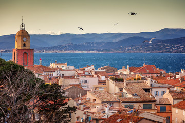 Wall Mural - View of the city of Saint-Tropez, Provence, Cote d'Azur, a popular destination for travel in Europe