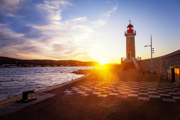 Bright beautiful colorful sunset, Lighthouse in Saint Tropez, France, Cote d Azur, Provence