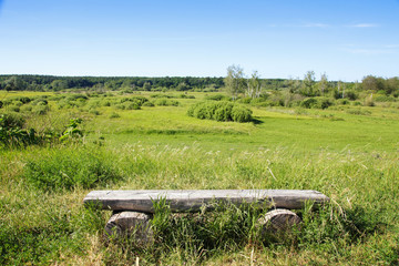 Holzbank, Rast, Landschaft, Panorama