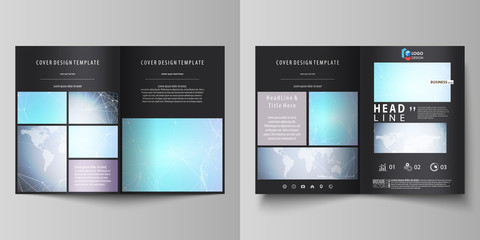 The black colored vector of editable layout of two A4 format modern covers design templates for brochure, flyer, booklet. Polygonal texture. Global connections, futuristic geometric concept