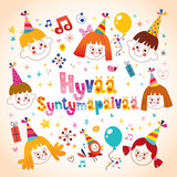 Happy birthday in finnish card stock image and royalty free vector happy birthday in finnish kids greeting card m4hsunfo
