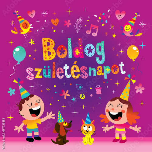 Happy birthday in hungarian greeting card stock image and royalty happy birthday in hungarian greeting card m4hsunfo