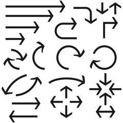 Black bold arrows set. Set of icons