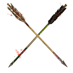 Foto op Plexiglas Waterverf Illustraties Indian Arrows. Watercolor Illustration.