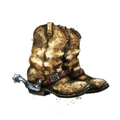 Pair of Cowboy Boots. Watercolor Illustration.