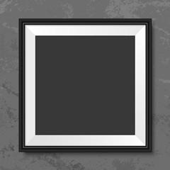 Frame square grey grunge wall mock up vector